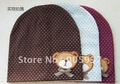 Cartoon cute bear with bowknot /good quality/ labeling lovely cute bear/knitted hat/ baby hats / children cotton hats / kids cap