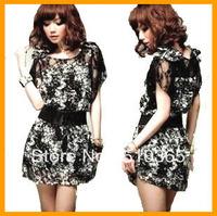 Women summer dress 2014 New Fashion Bohemian Chiffon Lace Silk Print Mini Causal Vintage Plus Size lady dresses for women 8179