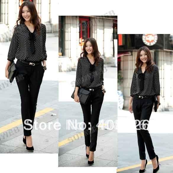 Sexy Women's OL Chiffon Blouse New Vintage Polka Dots 3/4 Sleeve Top Shirt Black +white free shipping 800