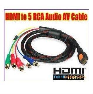 1.5M HDMI to 5 RCA RGB Audio Video AV Cable  Converter 1080P 10pcs/lot  free shiipping