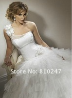 2012 new handmade flowers yarn shoulder back strap layers of cake organza long drag Pompon wedding