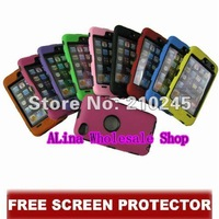 Wholesale 100pcs/lot  Shock Proof Case Silicone With Hard Back Cover Case For iPod Touch 4 4G,Free Screen Protector