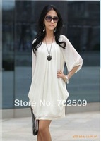 elegant women's Summer Chiffon Dress 3 colors size  M/L free shipping