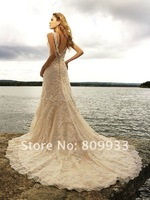 2012 new luxury classic deep V-neck trailing wedding dress lace wedding dress trailing