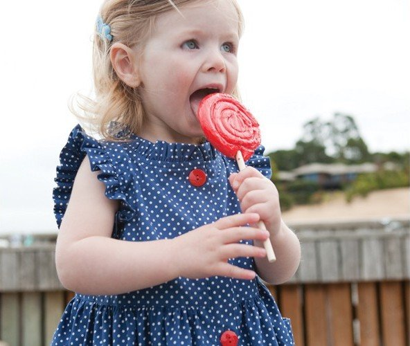 Designer Kids Clothes Outlet Wholesale blue dots kids dress