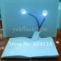 freeshipping!10pcs  Flexible Clip On 2 LED Book Light Reading Light