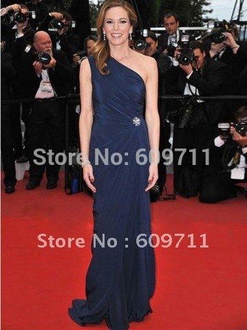 Diane Lane One Shoulder Sheath Floor Length Brooch Elastic Satin Evening Celebrity Dress C056(China (Mainland))