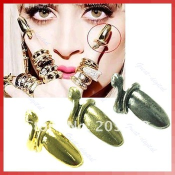 50 pcs/lot Retro Exaggerated Fashion Fashion Punk Cool Finger Nail Snake Design Ring