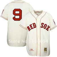 Mitchell & Ness Boston Red Sox #9 Ted Williams Home Natural Throwback Jersey,usa baseball jersey sale