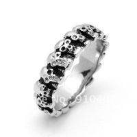 Free shipping  Stainless steel Double  Skull Ring Jewelry