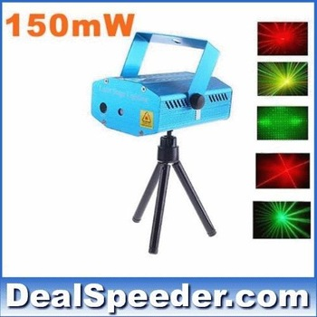 Free Shipping! 150MW Mini Red & Green Moving Party Laser Stage Light laser DJ party light Twinkle 110-240V 50-60Hz With Tripod