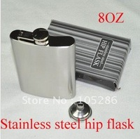 Wholesale 4pcs/lot 8oz stainless steel hip flask with funnel Best gifts for husband&amp;amp;father free shipping