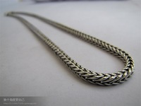 "Wholesale 2 Pcs Wholesale New 925Silver 20"" 3mm Necklace Chains XXX-020 Quartet hollow cannabis necklace"
