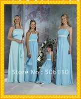 Custom Hot Sale 4 Piece/Lots Blue Halter Chiffon Long Sash Junior Adult Cheap Bridesmaid dresses Evening Prom Party Dress Gown
