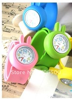 Free shipping+Automatic tape,  silicone rabbit slap Fashion watch,children watch,candy color 10pcs/lot