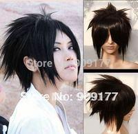 Natural Kanekalon costum Hair Wigs  hair no lace brazilian virgin queen Death Note Short black Naruto Uchiha Sasuke cosplay wig