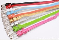 Wholesale - -Candy colors PU patent leather fine belt thin waists belt,Christmas gift500pc/lot