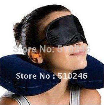 best selling 3pcs Travel Set Inflatable Neck Air Cushion Pillow/eye mask/ 2 Ear Plug amenity kit(China (Mainland))