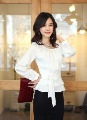 Free shipping  fashion women shirts OL dress shirt  fashionable tops office lady rayon tops  long sleeve  formal work blouses