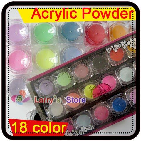 Free Shipping 18 Color Nail Acrylic Powder Colourful Dust Set For 3d Art Mold Wholesales Colours False Nails Tips Makeup Paint(China (Mainland))