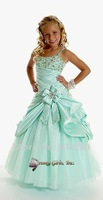 Free Shipping  Beaded Custom-made Taffeta with a Bow Front Girl Dresses