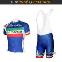 Free Shipping!! MEN'S SUMMER CYCLING JERSEY+BIB SHORTS 2012 movistar-TEAM-blue&red-SZ: xS-4XL& Wholesale/Retail