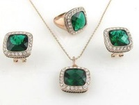 Gold Plated Green crystals Necklace Earring Ring Set