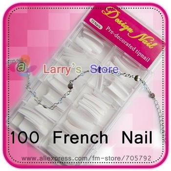 Free Shipping 100 Pcs/Box False Nail Art Care Salon French Tips Acrylic White Color + Retail Box Natural Half Cover Style Design