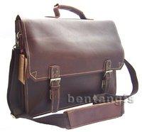 FREE SHIP Wholesale Retail High Class Men's Full Grain Real Leather Tote Brown Shoulder Bag Messenger Bag Laptop Briefcase M063#