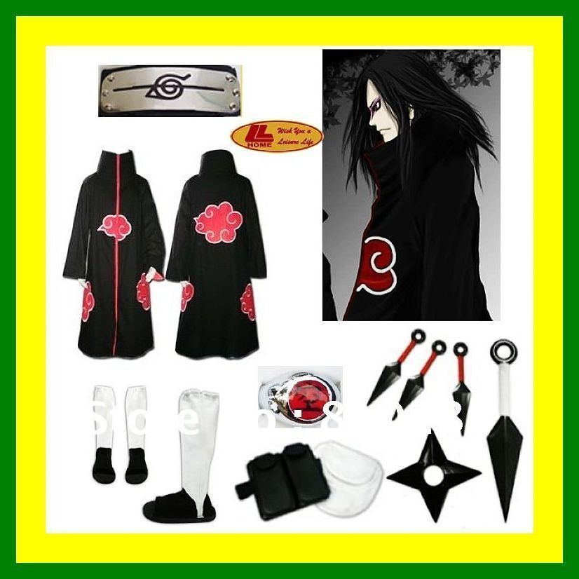 Free Shipping Naruto akatsuki cosplay costume cloak Cloth Ring Headband Shoes set - Orochimaru(China (Mainland))