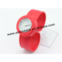 100pcs/lot, silicone watch fashion snap watch,small size with white face,12colors available slap watch for kinds.