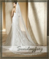 Fast Free Shipping In Stock Wedding 2.5M Hot Sale Top Quality Lace Edge Long Veils in White Color -V16