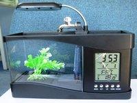 wholesale Mini USB LCD Desktop Lamp Light Fish Tank Aquarium LED Clock, black/ white two colors, freeshipping,dropshipping