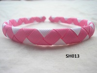 2012 NEW!! 1/2 inch 100  Pcs/Lot U Pickup  Woven Ribbon Headbands  Girls Baby Infant - Rose Bloom/White  + EMS  Free Shipping