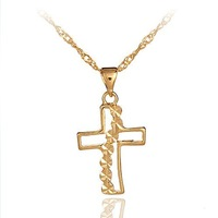 24kt gold cross necklace pendant  22C016  2-year guarantee factory price