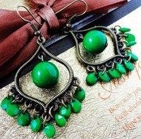 Retro fashion  green water  bead lady's alloy earring FE-011