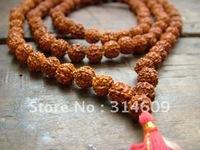 Retail free shipping Indian Buddhist Prayer Beads Rudraksha Prayer Bead Mala-108 Beads For Chanting