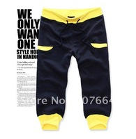 Korea style men's leisure long pants, classic stripe pants flanging style for men