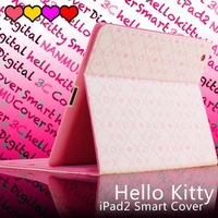 Hot sale!Hello kitty Magnetic Leather Smart Cover with red Case For ipad 2 wholesale