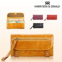 FREE SHIPPING-ON SALE Girl&Women's Genuine Leather Real Long Wallet Purse Coin Bag Credit Card Holder(Yellow,Red,Purple,Black)
