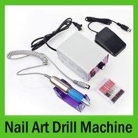 30000 RPM Electric Nail Art Manicure Pen Drill File Machine w Foot Pedal+6 Bits