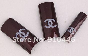 1sets/lot 70pc Brown Logo Pre Design French Nail False Tips  J0681-1