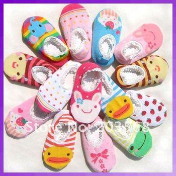 D19+10 pairs/lot Cute Unisex Baby Kids Toddler Girl Boy Anti-Slip Socks Shoes Slipper 6-24 Months