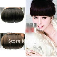 10 pcs/lot New Fashion Girls Clip on Front Neat Bang Fringe Hair Extensions