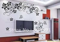 Free shipping Removable wall sticker,BUTTERFLY VINE FLOWER TREE wall art stickers decals stencils,size 50*70cm,mini order 1pcs