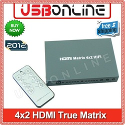 Free Shipping 4x2 HDMI True Matrix (Switch & Splitter) / HDMI True Matrix 4x2 4 input 2 output+SPDIF+COAX(China (Mainland))