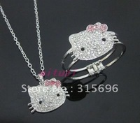 hello kitty pink bow necklace bracelet set 2items gift m25+free shipping