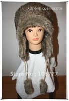 Genuine Rabbit Fur Hat/female women lady/winter warm/Wholesale or Retail Free Shipping/OEM/dome cap /headdress brown with white
