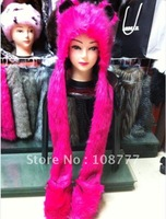 Genuine Rabbit Fur Hat/female women lady/winter warm/Wholesale or Retail Free Shipping/OEM/Fox head cap/headdress Rose red