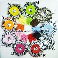 Free Shipping 120pcs Crochet Headbands + 120pcs Gerbera Daisy Flowers/Baby Hairbows,Children Head Accessories